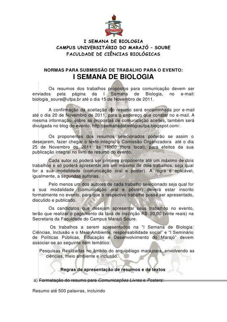 I SEMANA DE BIOLOGIA           CAMPUS UNIVERSITÁRIO DO MARAJÓ – SOURE              FACULDADE DE CIÊNCIAS BIOLÓGICAS     NO...