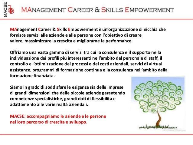 MAnagement Career & Skills Empowerment è un'organizzazione di nicchia chefornisce servizi alle aziende e alle persone con ...