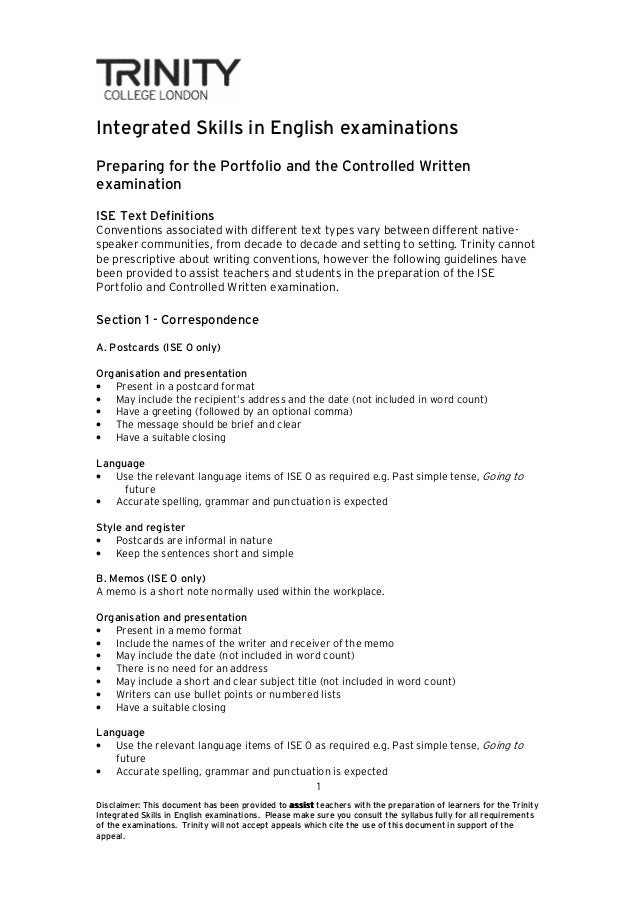 Integrated Skills in English examinationsPreparing for the Portfolio and the Controlled WrittenexaminationISE Text Definit...