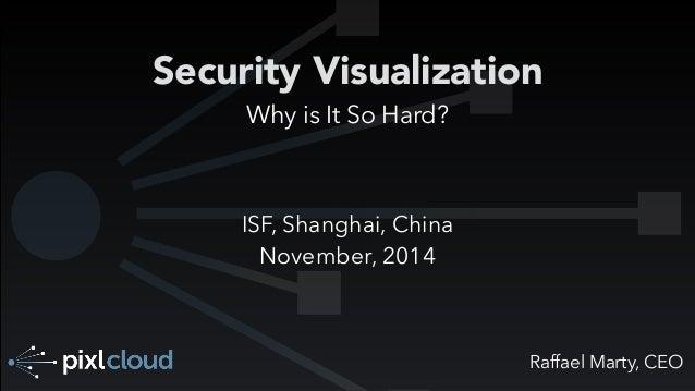 Security Visualization  Raffael Marty, CEO  Why is It So Hard?  ISF, Shanghai, China  November, 2014