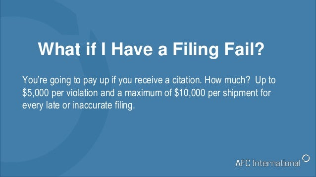 What if I Have a Filing Fail? You're going to pay up if you receive a citation. How much? Up to $5,000 per violation and a...