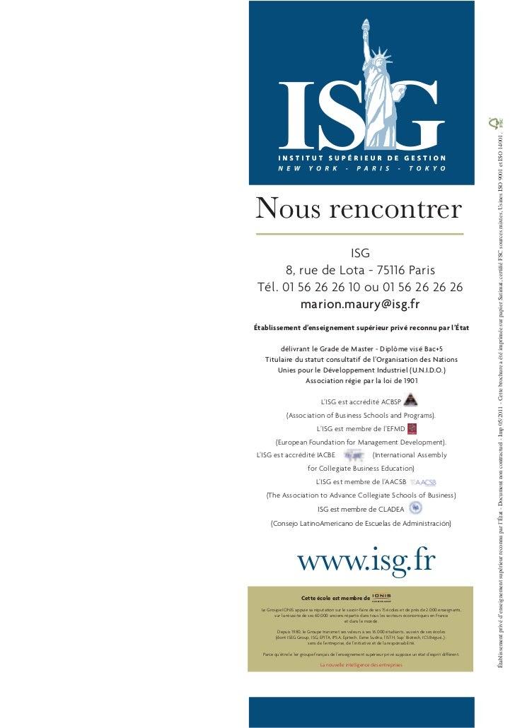 ISG      8, rue de Lota - 75116 Paris Tél. 01 56 26 26 10 ou 01 56 26 26 26         marion.maury@isg.frÉtablissement d'ens...
