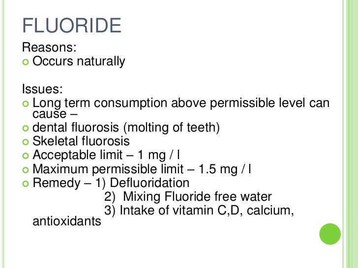 Permissible Limit Of Chloride In Drinking Water