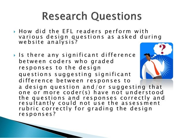  How did the EFL readers perform withvarious design questions as asked duringwebsite analysis? Is there any significant ...