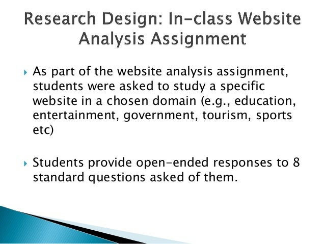  As part of the website analysis assignment,students were asked to study a specificwebsite in a chosen domain (e.g., educ...