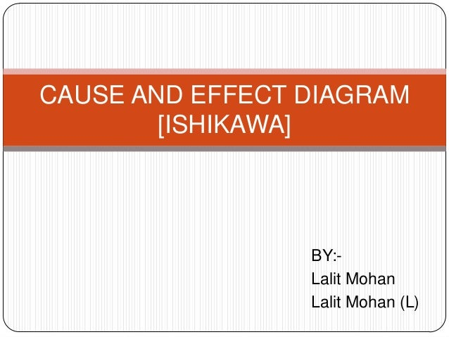 CAUSE AND EFFECT DIAGRAM        [ISHIKAWA]                 BY:-                 Lalit Mohan                 Lalit Mohan (L)