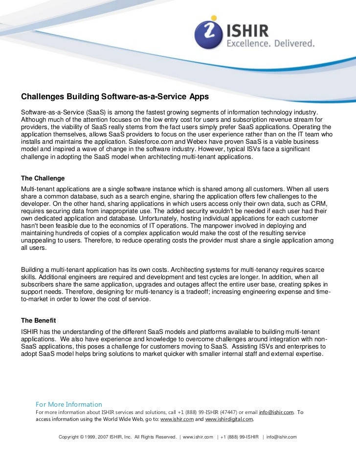 Challenges Building Software-as-a-Service AppsSoftware-as-a-Service (SaaS) is among the fastest growing segments of inform...