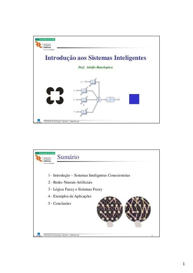 1 Laboratório de Automação e Robótica - ENE/FT/UnB Faculdade de Tecnologia Introdução aos Sistemas Inteligentes Prof. Adol...