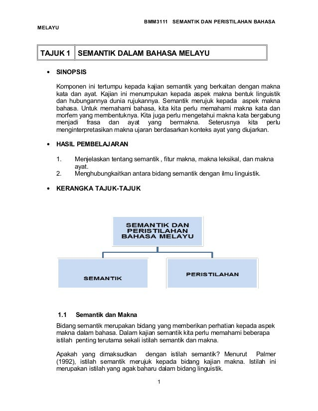 Isi Pelajaran Semantik Dan Peristilhan Bahasa Melayu Psgr Bmm3111 1