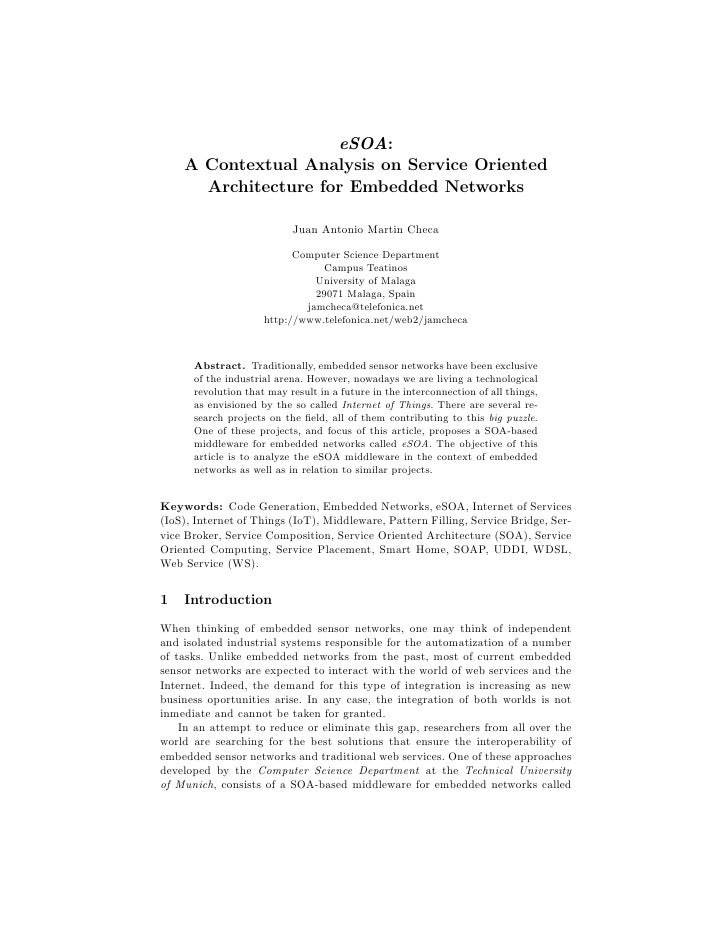 eSOA:    A Contextual Analysis on Service Oriented      Architecture for Embedded Networks                           Juan ...
