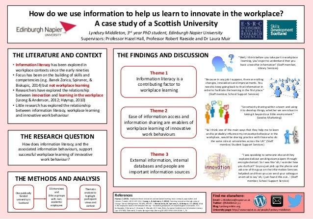 THE LITERATURE AND CONTEXT How do we use information to help us learn to innovate in the workplace? A case study of a Scot...