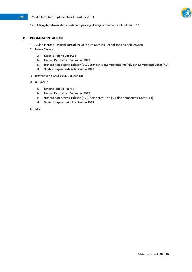 Materi Pelatihan Implementasi Kurikulum 2013 Bidang Studi