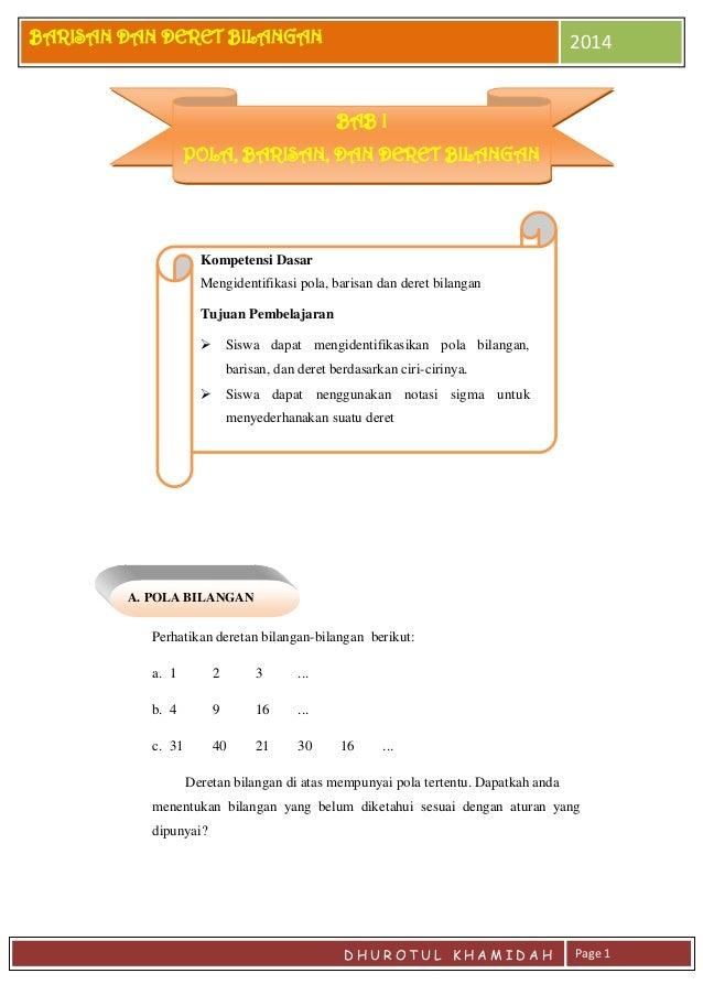 Modul Matematika Materi Barisan Dan Deret