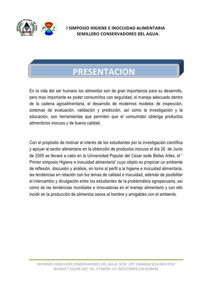 I SIMPOSIO HIGIENE E INOCUIDAD ALIMENTARIA                            SEMILLERO CONSERVADORES DEL AGUA.                   ...