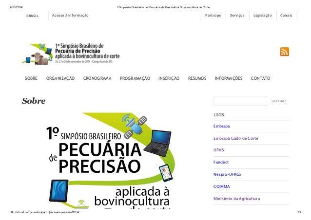 7/10/2014 I Simpósio Brasileiro de Pecuária de Precisão à Bovinocultura de Corte  BRASIL Acesso à informação Participe Ser...