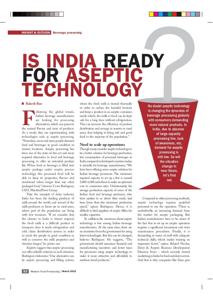 INSIGHT & OUTLOOK Beverage processingIS INDIA READYFOR ASEPTICTECHNOLOGY   Rakesh Rao                                    w...
