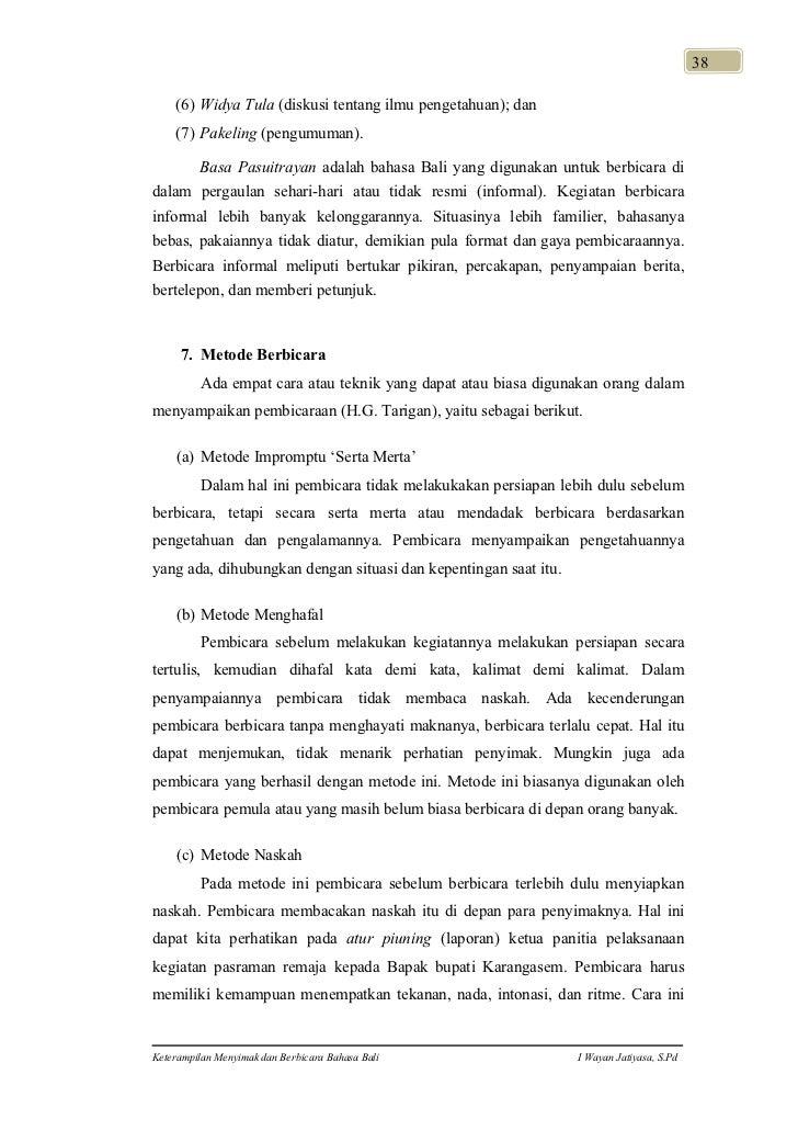 Keterampilan Menyimak dan Berbicara Bahasa Bali