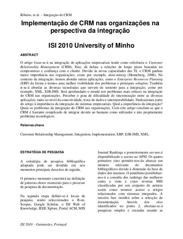 Ribeiro, et al. – Integração de CRMImplementação de CRM nas organizações na        perspectiva da integração              ...