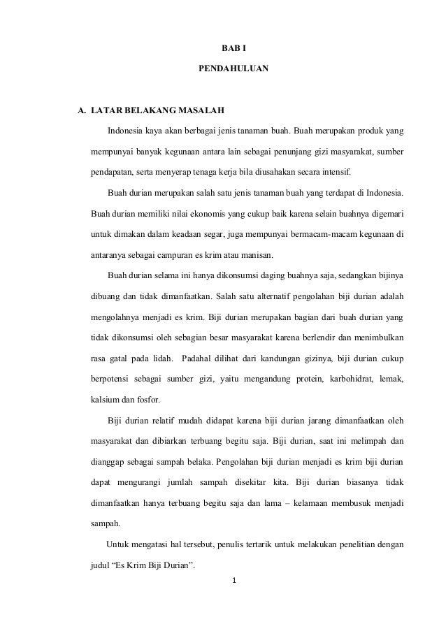 Proposal Karya Tulis Ilmiah Es Krim Biji Durian
