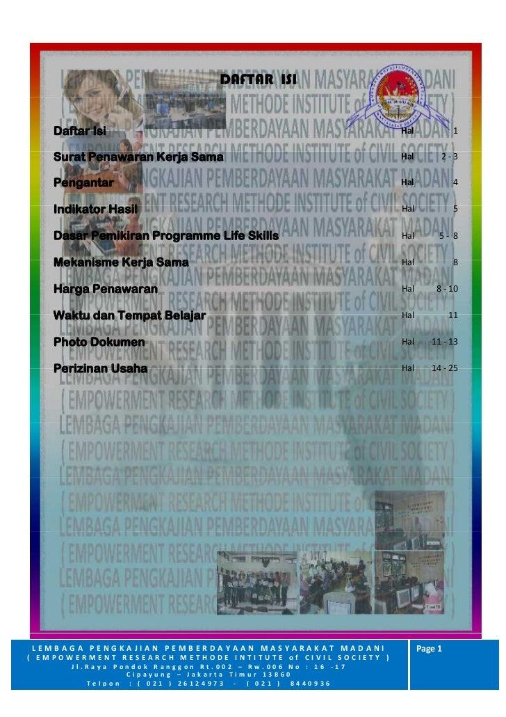 DAFTAR ISI    Daftar Isi                                               Hal             1    Surat Penawaran Kerja Sama    ...