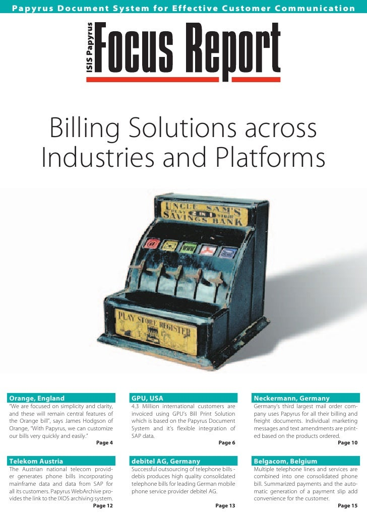 Papyrus Document System for Effective Customer Communication                   Billing Solutions across              Indus...