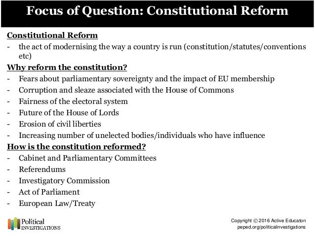 'constitutional reform since 1997 has not What has not changed is the way judgments are made or given after all, judges have been independent in the way they work for centuries the real differences are in the day-to-day management of the judiciary, the way judges are appointed and the way complaints are dealt with.