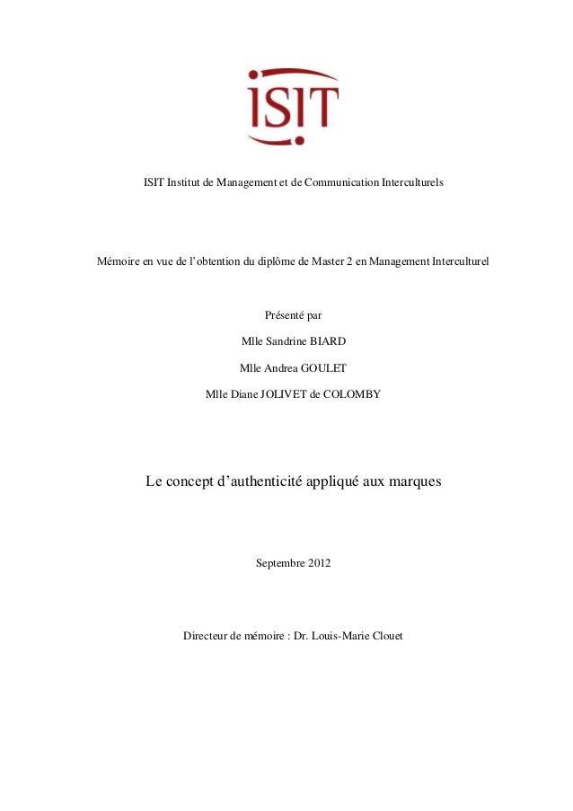 ISIT Institut de Management et de Communication Interculturels  Mémoire en vue de l'obtention du diplôme de Master 2 en Ma...