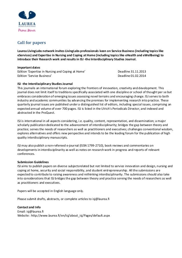 Call for papers Laurea LivingLabs network invites LivingLabs professionals keen on Service Business (including topics like...