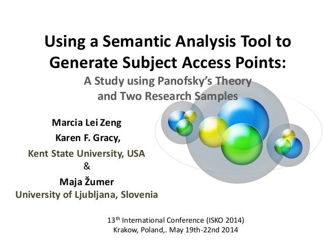 Using a Semantic Analysis Tool to Generate Subject Access Points: A Study using Panofsky's Theory and Two Research Samples...