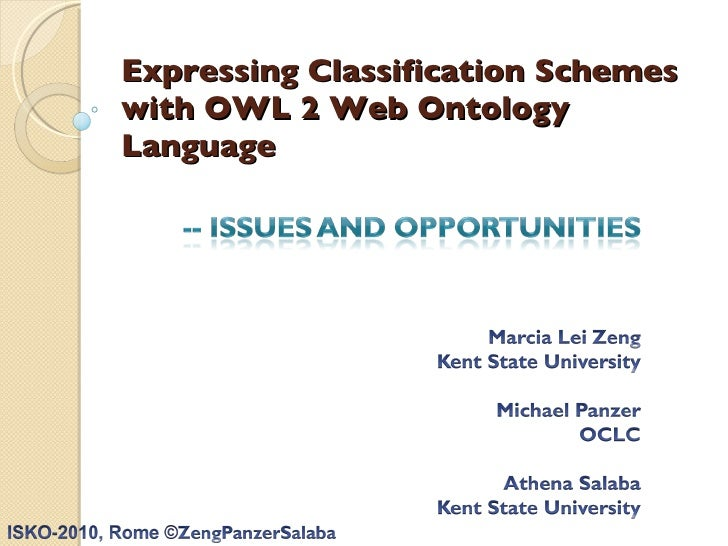 Expressing Classification Schemes  with OWL 2 Web Ontology Language