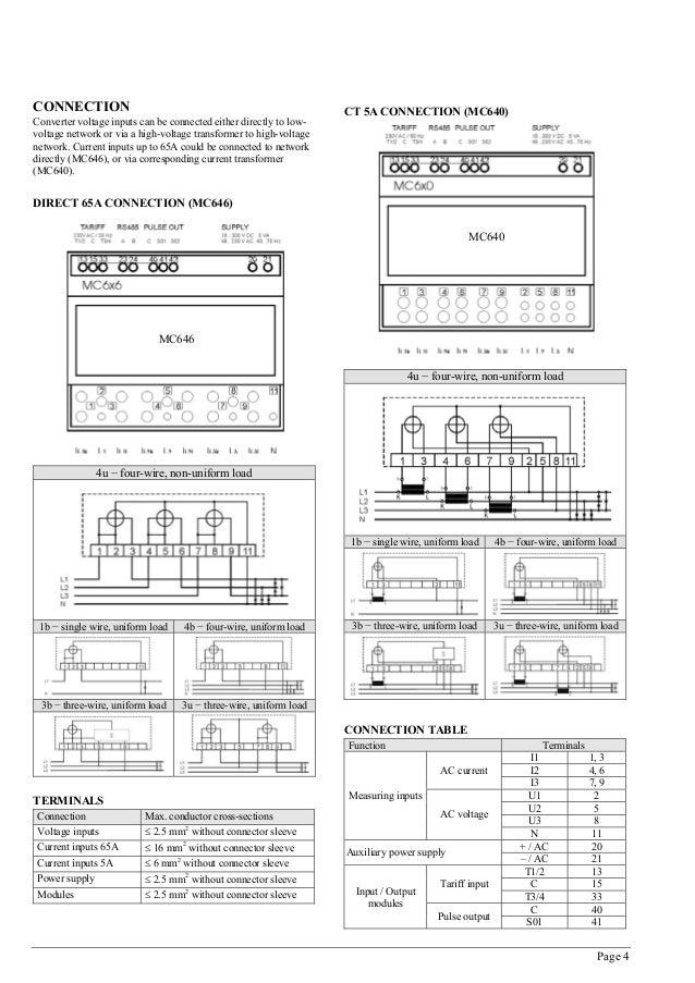 Iskra MC 640 Multifunction Meter Datasheet Manual – Iskra Terminal Wiring Diagram 2