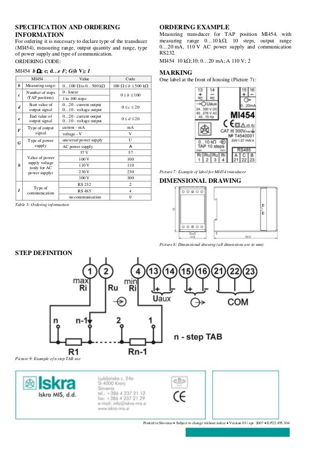 ISKRA MI 454 Measuring Transducer Datasheet – Iskra Terminal Wiring Diagram 2
