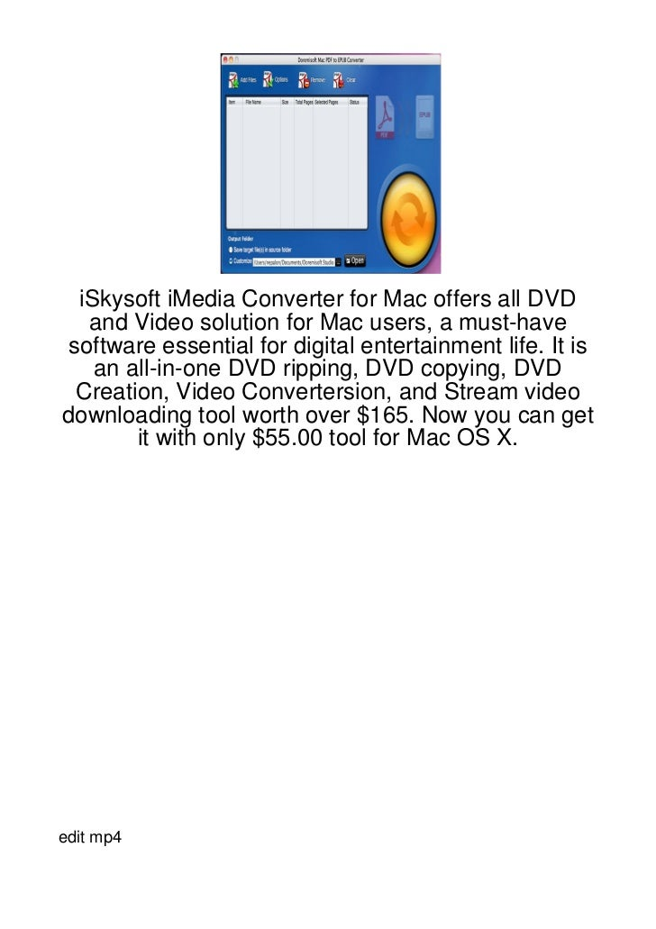 iSkysoft iMedia Converter for Mac offers all DVD   and Video solution for Mac users, a must-have software essential for di...