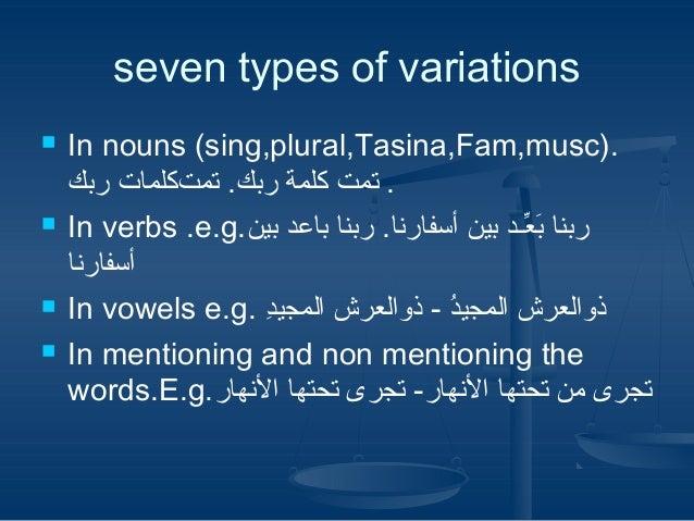 seven types of variations .)In nouns (sing,plural,Tasina,Fam,musc . تمتمت .كبر ةملكلمة ربك. تمتمت.كبر ةملكلمات رب...