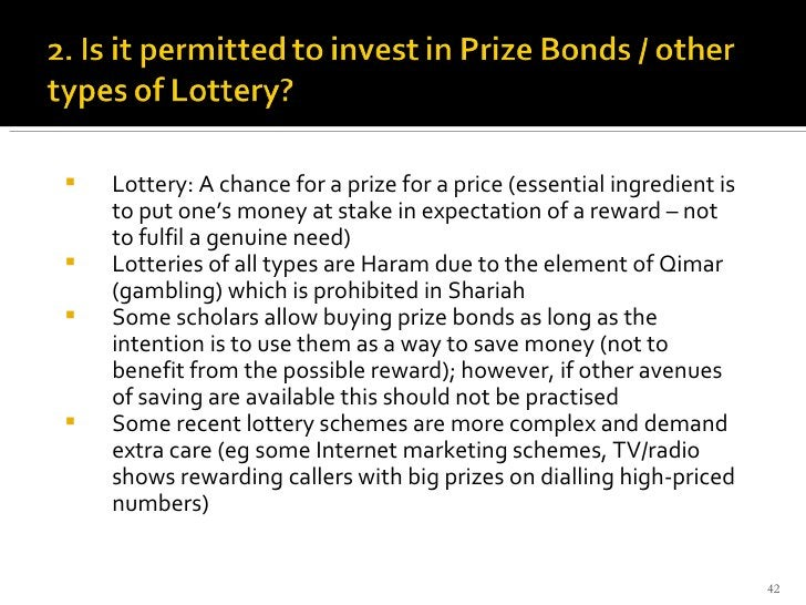 <ul><li>Lottery: A chance for a prize for a price (essential ingredient is to put one's money at stake in expectation of a...