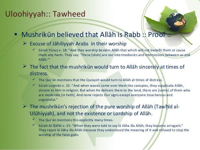 """• Mushrikūn believed that Allāh is Rabb :: Proof ::  Excuse of Jāhiliyyah Arabs in their worship  Sūrah Yūnus v. 18: """"An..."""