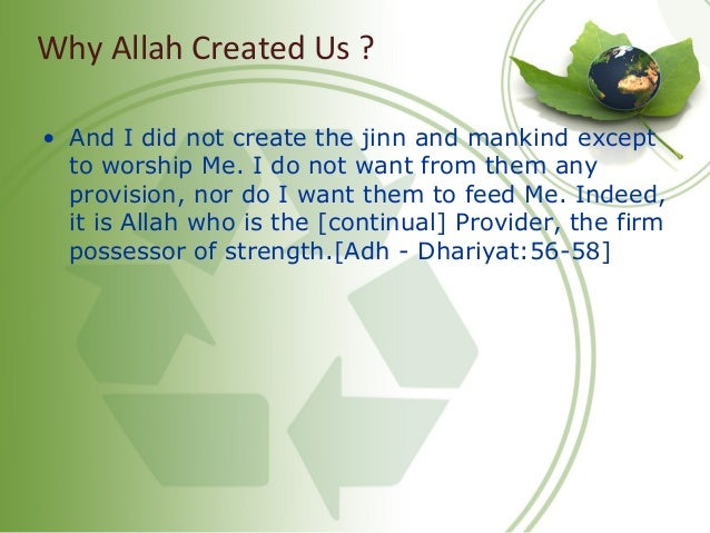 Why Allah Created Us ? • And I did not create the jinn and mankind except to worship Me. I do not want from them any provi...