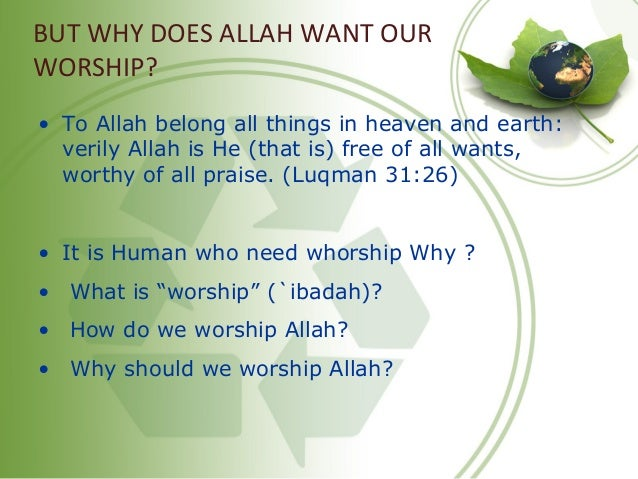 BUT WHY DOES ALLAH WANT OUR WORSHIP? • To Allah belong all things in heaven and earth: verily Allah is He (that is) free o...