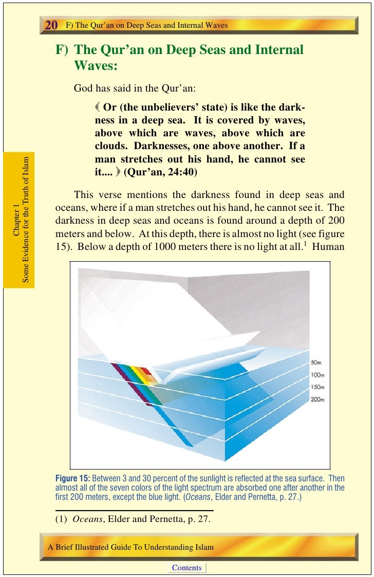 F) The Qur'an on Deep Seas and Internal Waves       21 beings are not able to dive more than forty meters without the aid ...