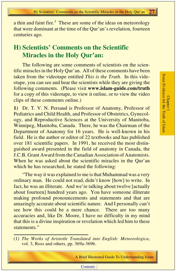 28   H) Scientists' Comments on the Scientific Miracles in the Holy Qur'an                                                ...