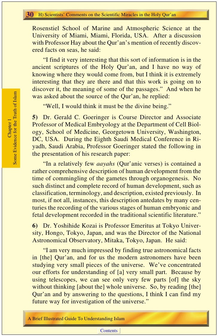 H) Scientists' Comments on the Scientific Miracles in the Holy Qur'an   31 7) Professor Tejatat Tejasen is the Chairman of...