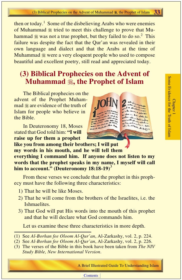 34   (3) Biblical Prophecies on the Advent of Muhammad , the Prophet of Islam                                           1)...