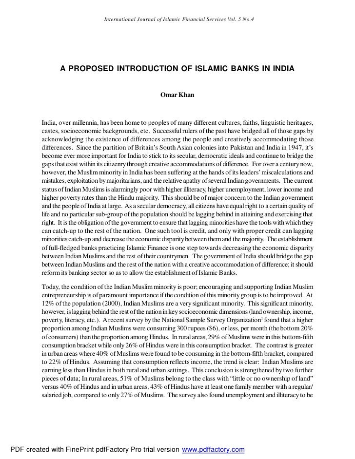 International Journal of Islamic Financial Services Vol. 5 No.4                     A PROPOSED INTRODUCTION OF ISLAMIC BAN...