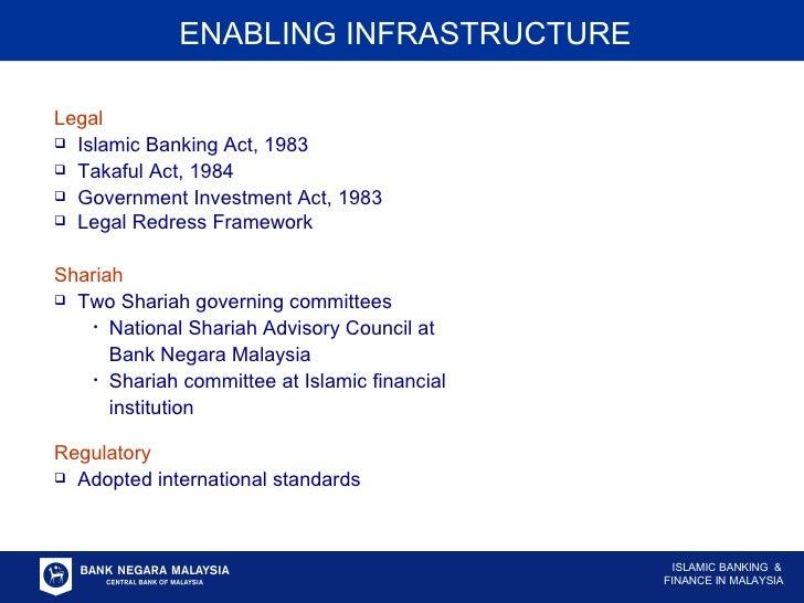 ENABLING INFRASTRUCTURE <ul><li>Legal </li></ul><ul><li>Islamic Banking Act, 1983 </li></ul><ul><li>Takaful Act, 1984 </li...