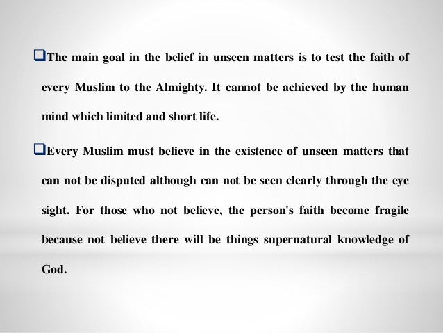 Islamic aqidah Belief in Unseen Matters