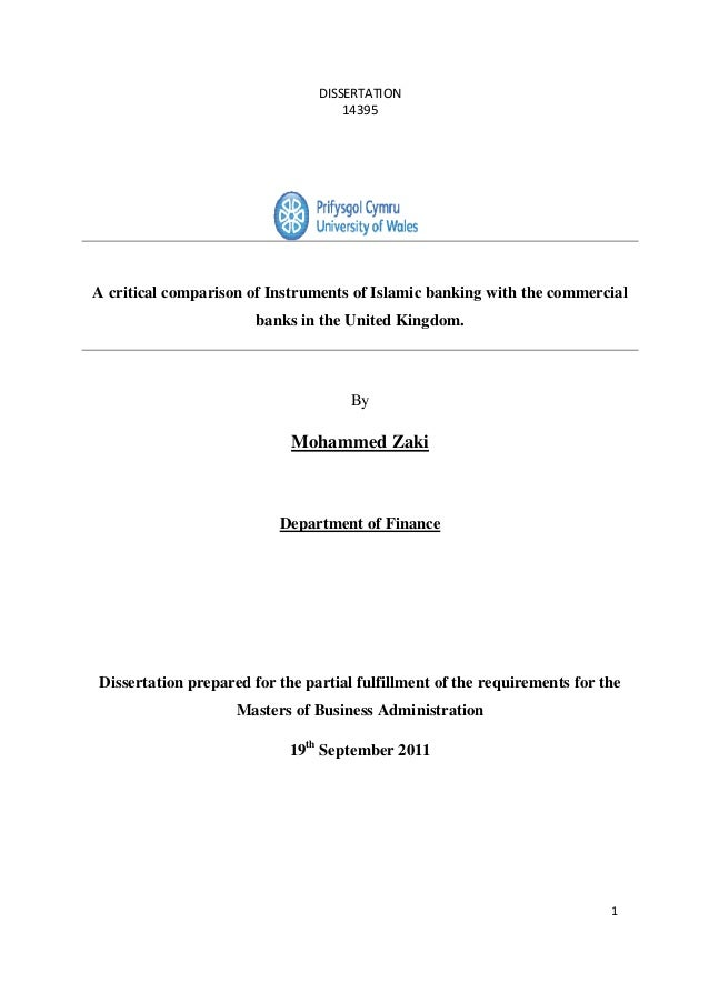 DISSERTATION 14395 1 A critical comparison of Instruments of Islamic banking with the commercial banks in the United Kingd...
