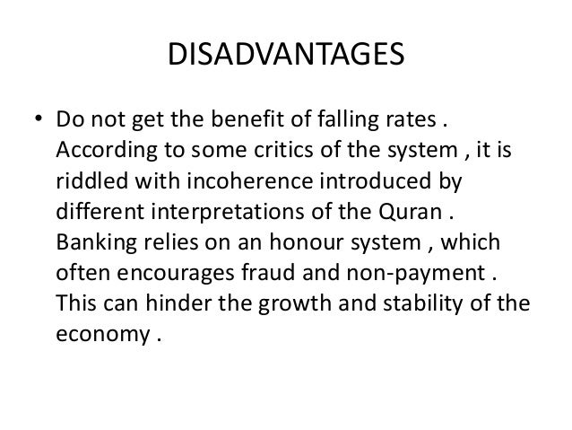 disadvantages of islamic economic system