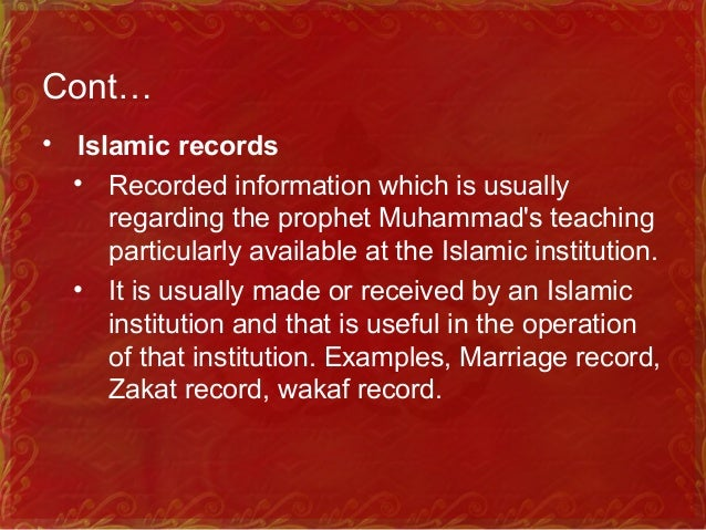Cont… • Islamic Information Management • Handling Islamic information in terms of planning, organizing, budgeting, control...