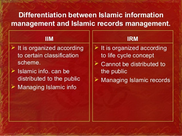 The scope of Islamic information Discuss the scope of Islamic information management and Islamic records management.