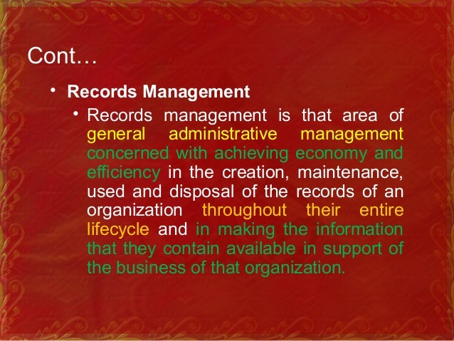 Cont… • Information Management • Handling information in terms of planning, organizing, budgeting, controlling, reporting,...